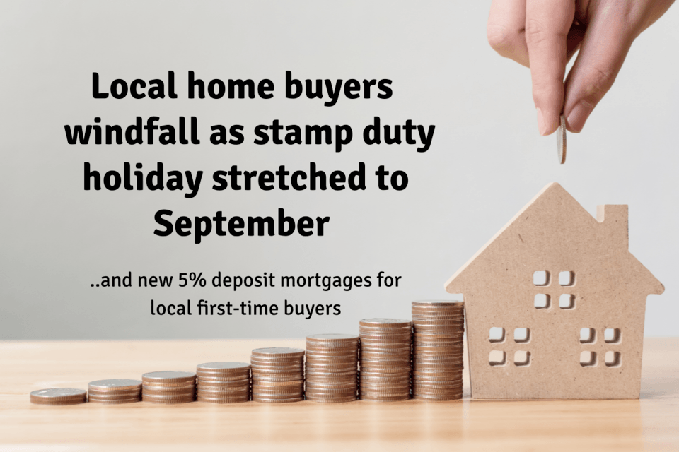 Wokingham Home Buyers £8,000,015 Windfall as Stamp Duty Holiday Stretched  to September... ... and new 5% deposit mortgages for Wokingham first-time buyers