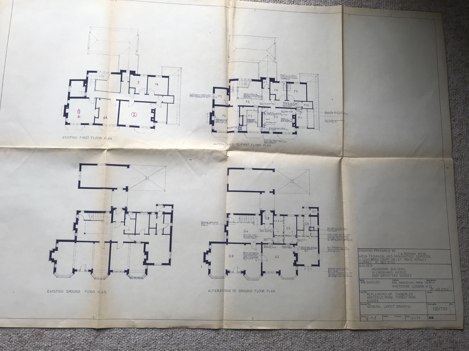 Floor Plan showing alterations carried out in 1980's