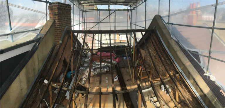 Existing joists after stripping roof